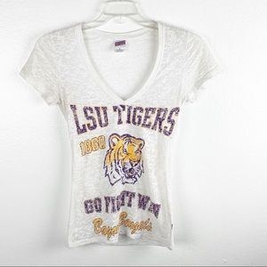 LSU Tigers White V-Neck Sheer Graphic Tee